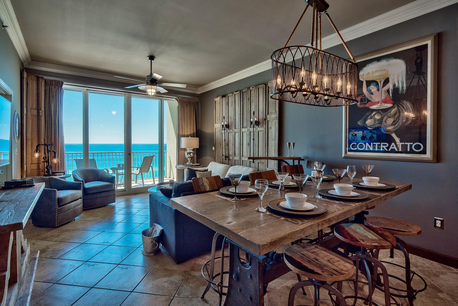 Open concept design with a view of the Gulf
